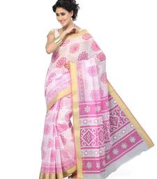 Buy Off White printed cotton saree with blouse printed-saree online