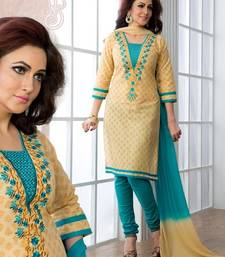 Buy beige embroidered Cotton unstitched salwar with dupatta dress-material online