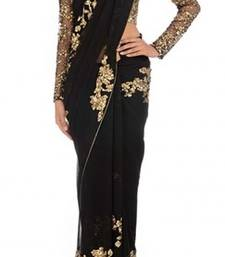 Buy black embroidered georgette saree with blouse georgette-saree online