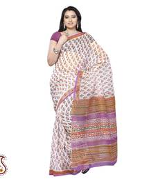 Buy White and Multicolour Block Print Kota sari cotton-saree online