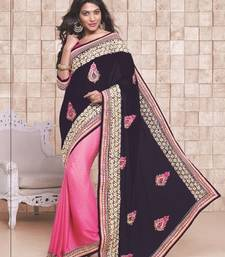 Buy Navy Blue and Pink embroidered georgette saree with blouse wedding-saree online