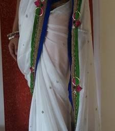 Buy Elegant white jute-saree online