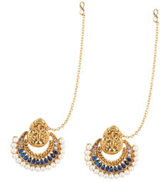 Buy Traditional INDIA ethnic bollywood polki earring with mahalaxmi motif and pearls on a golden base-White hoop online