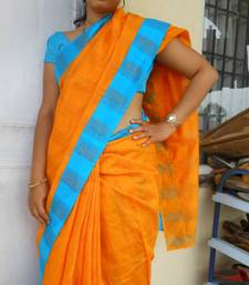 Buy Mustard n Blue Saree cotton-saree online