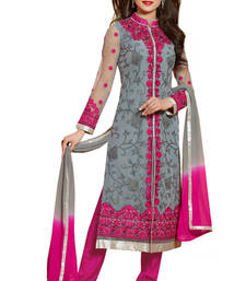 Grey embroidered Net semi stitched salwar with dupatta shop online
