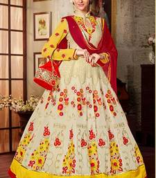 Buy Multicolor embroidered georgette semi stitched salwar with dupatta eid-sarees-dress online