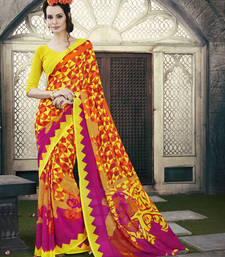 Buy pink and orange and  yellow printed georgette saree with blouse printed-saree online