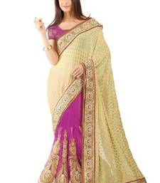 Buy Purple embroidered jacquard saree with blouse viscose-saree online
