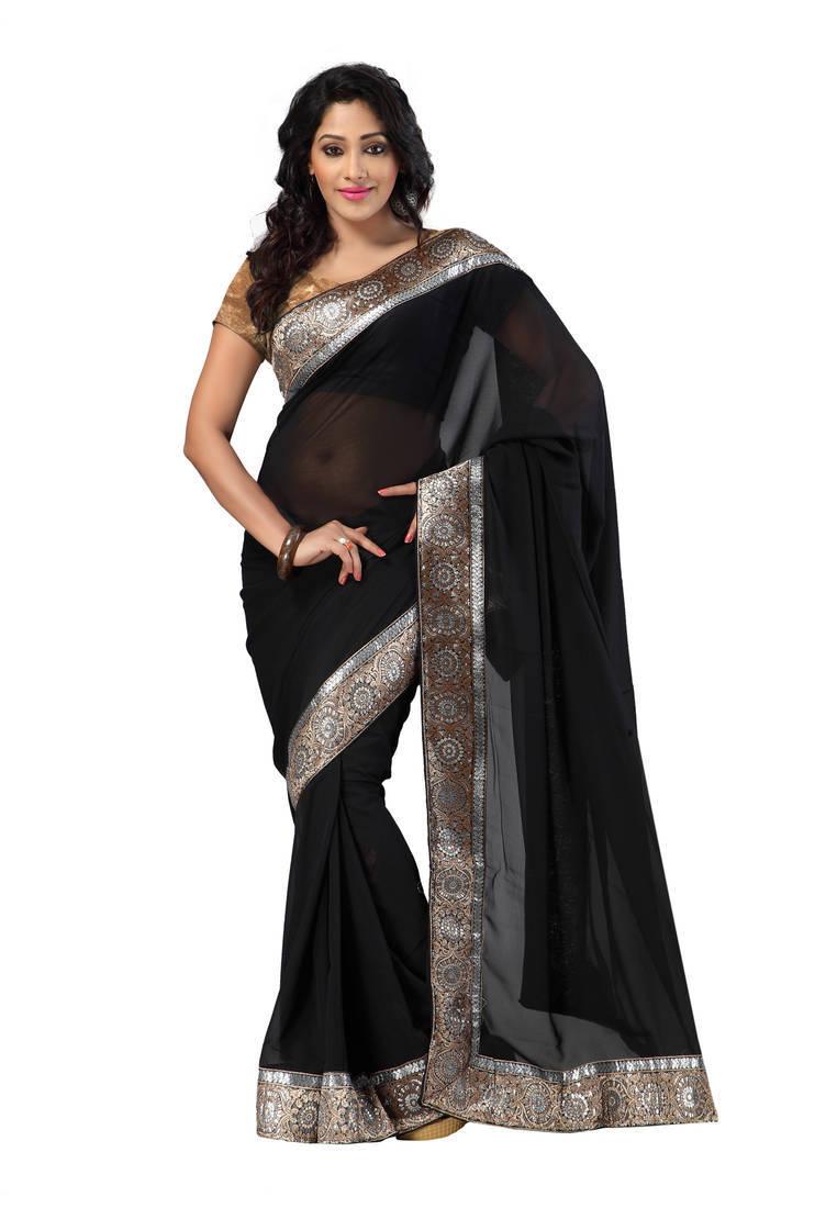 Buy Black Printed Chiffon Saree Online