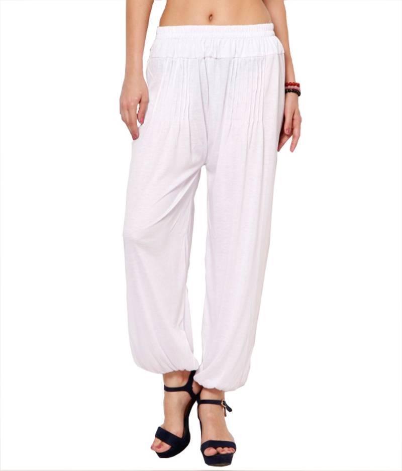 Buy Dee Fashion House White Viscose Lycra Harem Pants Online