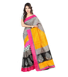 Buy Mutlicolour embroidered silk saree with blouse silk-saree online