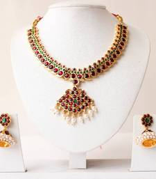 Buy BEAUTIFUL UNIQUE GOLD TONE PEARL ROYAL TEMPLE NECKLACE WITH MATCHING EARRINGS south-indian-jewellery online