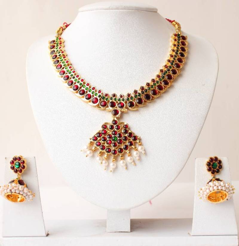 Buy Beautiful Unique Gold Tone Pearl Royal Temple Necklace