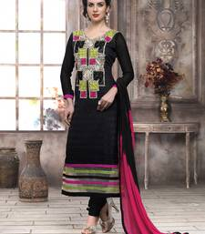 Buy black and pink embroidered cotton semi stitched salwar with dupatta salwars-and-churidar online