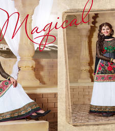 Buy multicolor embroidered georgette unstitched salwar with dupatta shawl online