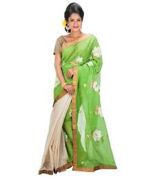 Buy GREEN and CREAM embroidered cotton saree with blouse cotton-saree online