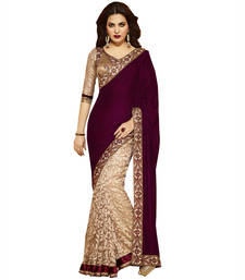 Buy Velvet Brown Embroidered Designer Party Wear Saree with blouse velvet-saree online