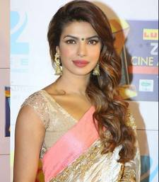 Buy White plain georgette saree with blouse priyanka-chopra-saree online