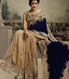 Buy Navy blue and chiku embroidered velvet saree with blouse wedding-saree online