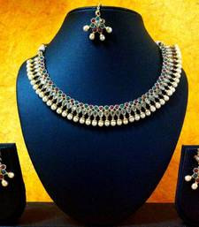 Buy Three Layers of Kundan Pearl & Red Green Stones v151 Necklace online