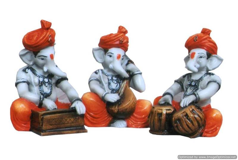 Buy Ganesha Playing Instruments Set Of 3 Online