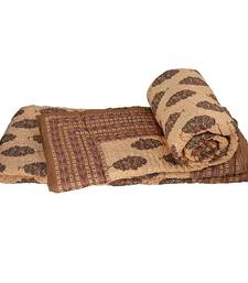 Buy Floral Handblock Print Brown Double Bed Quilt jaipuri-razai online