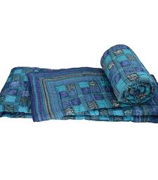 Buy Fancy Design Chequered Blue Double Bed Quilt jaipuri-razai online