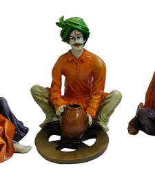 Buy Multicolor Rajasthani Villagers doing different activities sculpture online