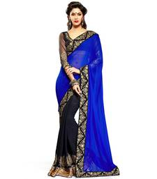 Buy Blue embroidered georgette saree with blouse half-saree online