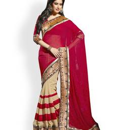 Buy Red and beige plain Chiffon saree with blouse chiffon-saree online