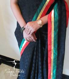 Beautiful Black Chanderi Silk Designer Saree shop online