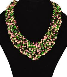 Buy Chunky woodbeads green necklace  Necklace online