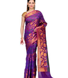 Buy Purple woven cotton silk saree with blouse banarasi-saree online