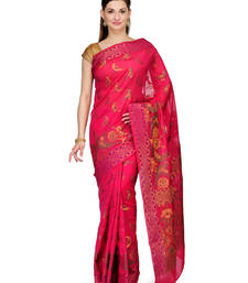 Buy Pink woven cotton silk saree with blouse banarasi-saree online