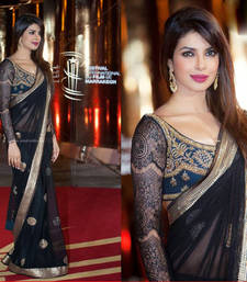 Buy Priyanka Chopra Black Heavy Stylish Designer saree with blouse priyanka-chopra-saree online