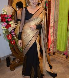 Buy beige and black embroidered georgette saree with blouse bollywood-saree online