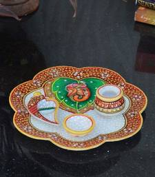 Buy Divine Lord Ganesha Marble Pooja Thali home-decor online