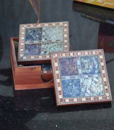 Buy Wooden Tea Coasters with Gemstones housewarming-gift online