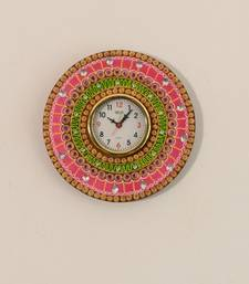 Buy Crystal Studded Colorful Papier-Mache Wooden Wall Clock wall-clock online