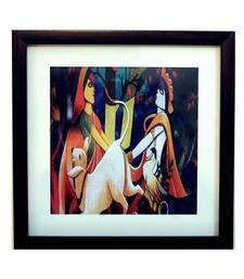 Buy Radha Krishna Satin Matt Texture Framed UV Art Print painting online