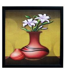 Buy Abstract Pot and Flower Theme Satin Matt Texture Framed UV Art Print painting online