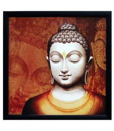Buy Meditating Buddha Design Satin Matt Texture Framed UV Art Print painting online
