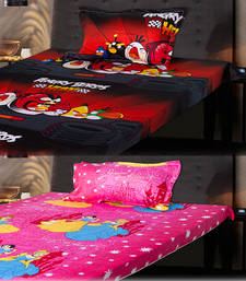 Buy Set of Beautiful Princess and Red Angry Birds Kids Single Bedsheet with 1 Pillow Cover bed-sheet online