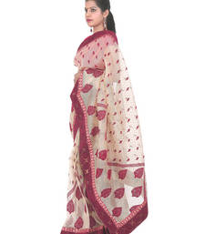 Buy Cream Velvet work Net resham embroidery net-saree with blouse net-saree online