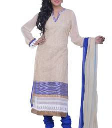 Buy chikoo embroidered fancy cotton stitched salwar readymade-suit online