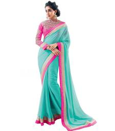 Buy Sky blue embroidered chiffon saree with blouse chiffon-saree online