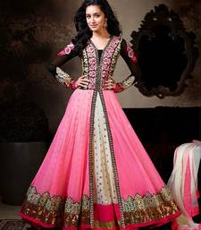Buy pink embroidered, Net semi-stitched salwar with dupatta anarkali-salwar-kameez online