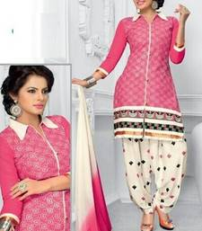 Buy Radiant Cotton Embroidered Patiala Suit Dress Material With Chiffon Dupatta eid-special-salwar-kameez online