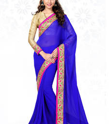 Buy Royal Blue embroidered georgette saree with blouse wedding-saree online