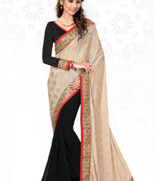 Buy Beige and Black embroidered jacquard saree with blouse wedding-saree online